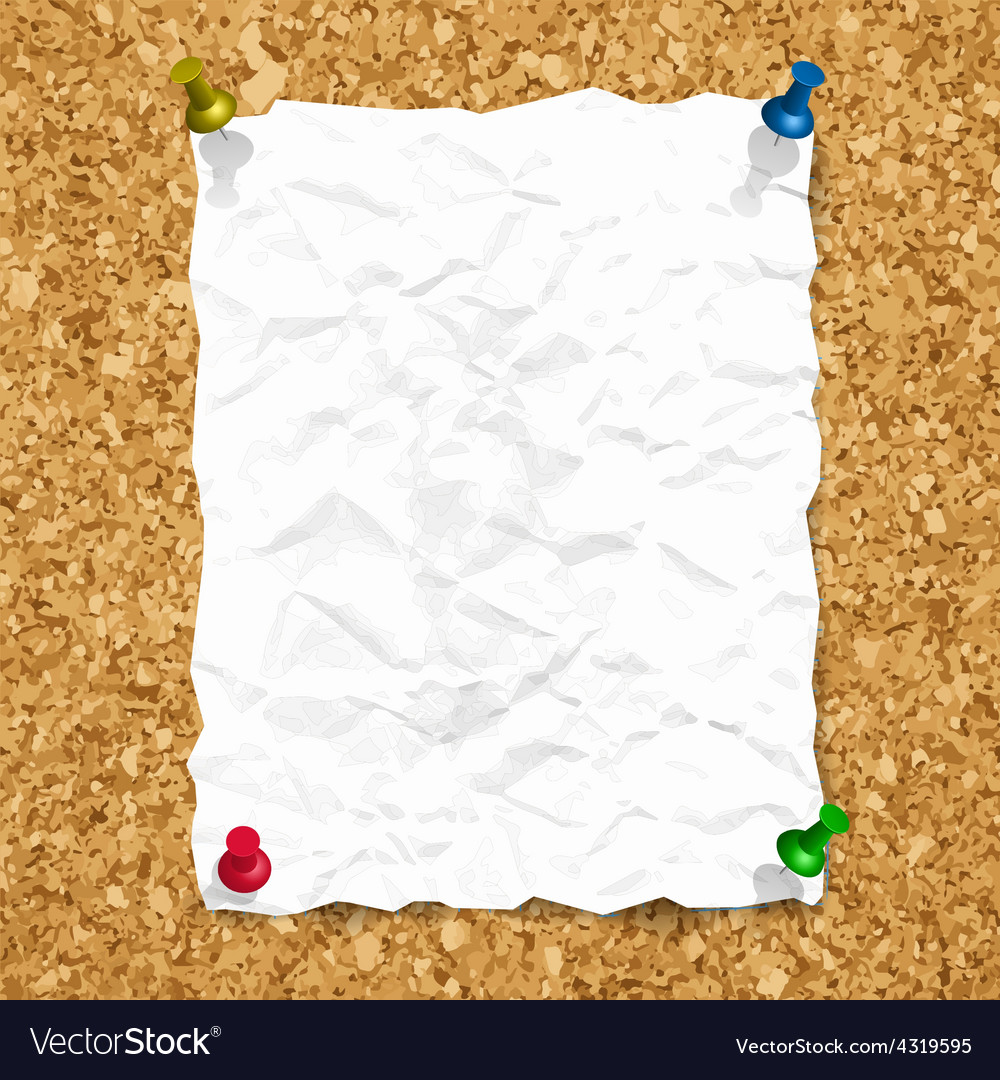 Crumpled paper sheet on cork texture with vector | Price: 1 Credit (USD $1)
