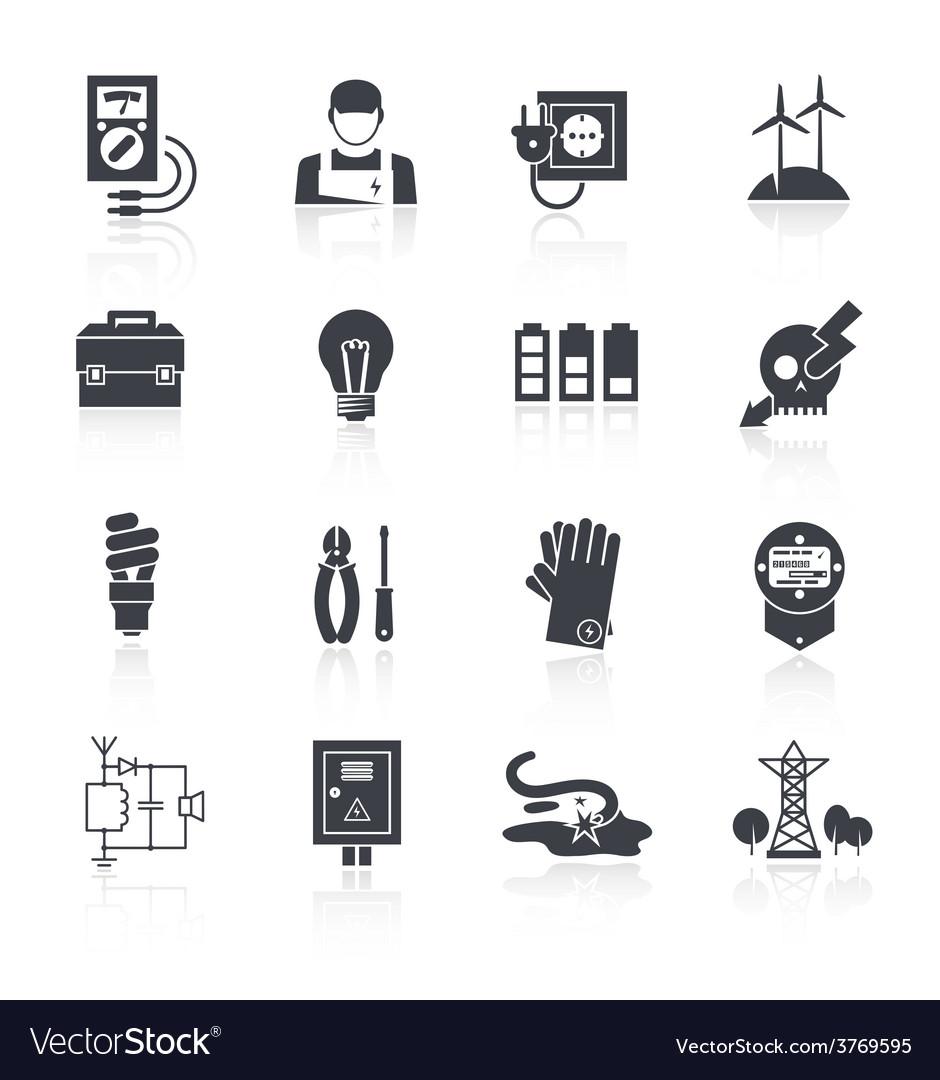 Electricity icon black vector | Price: 1 Credit (USD $1)