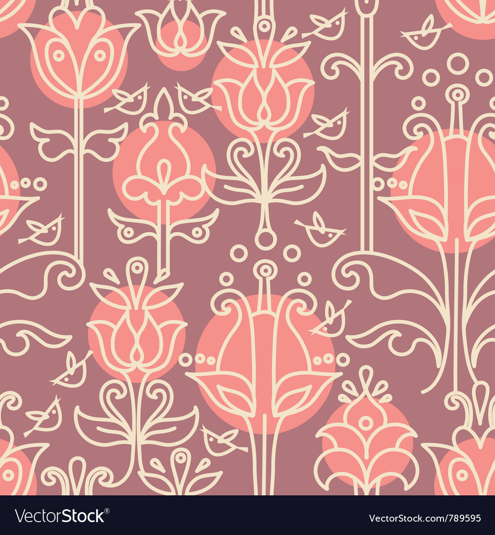 Floral seamless pattern with birds vector | Price: 1 Credit (USD $1)