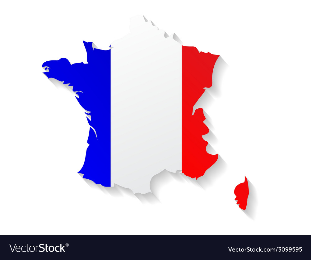 France flag map with shadow effect vector | Price: 1 Credit (USD $1)