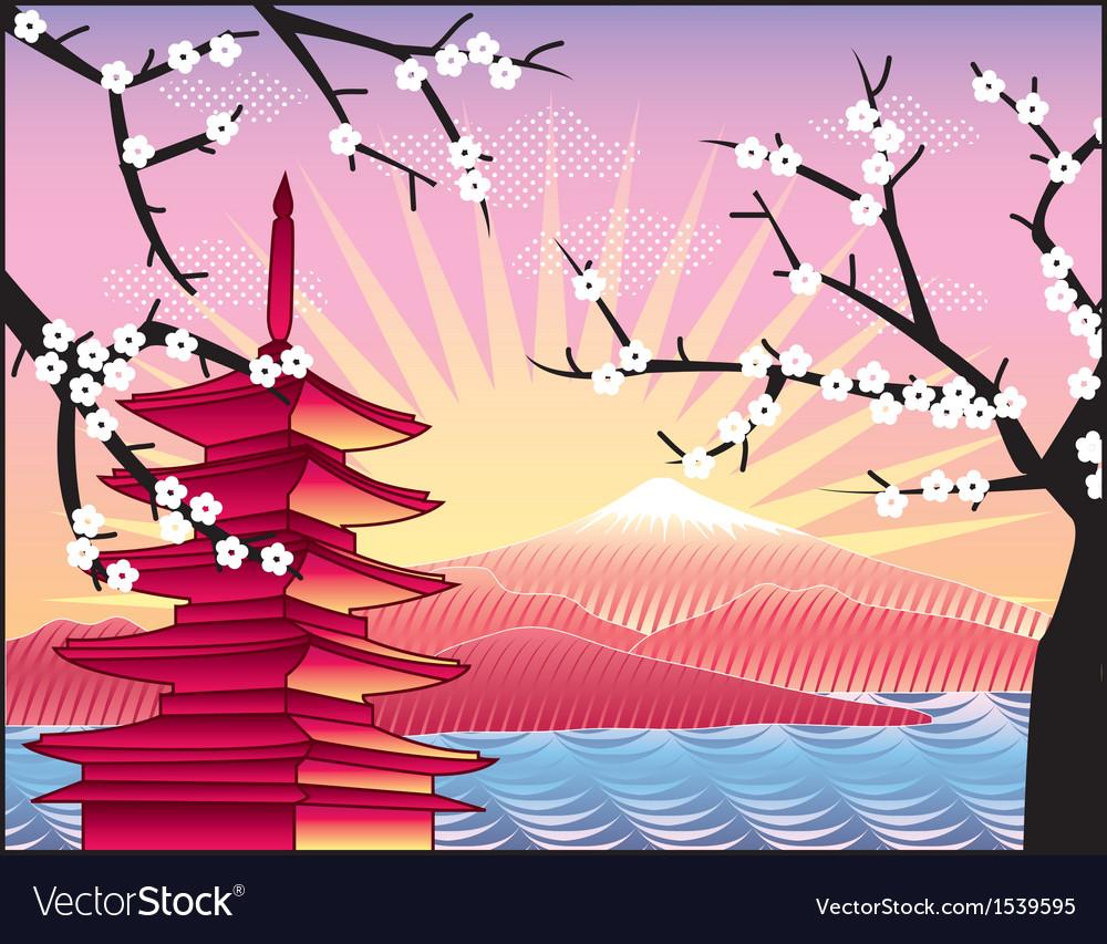 Fuji mount sakura tree and pagoda vector   Price: 1 Credit (USD $1)