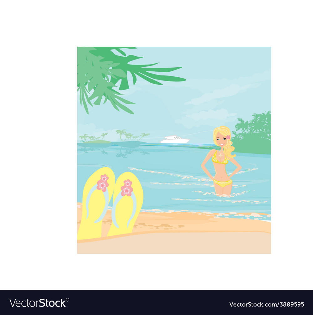 Girl on vacation vector | Price: 1 Credit (USD $1)