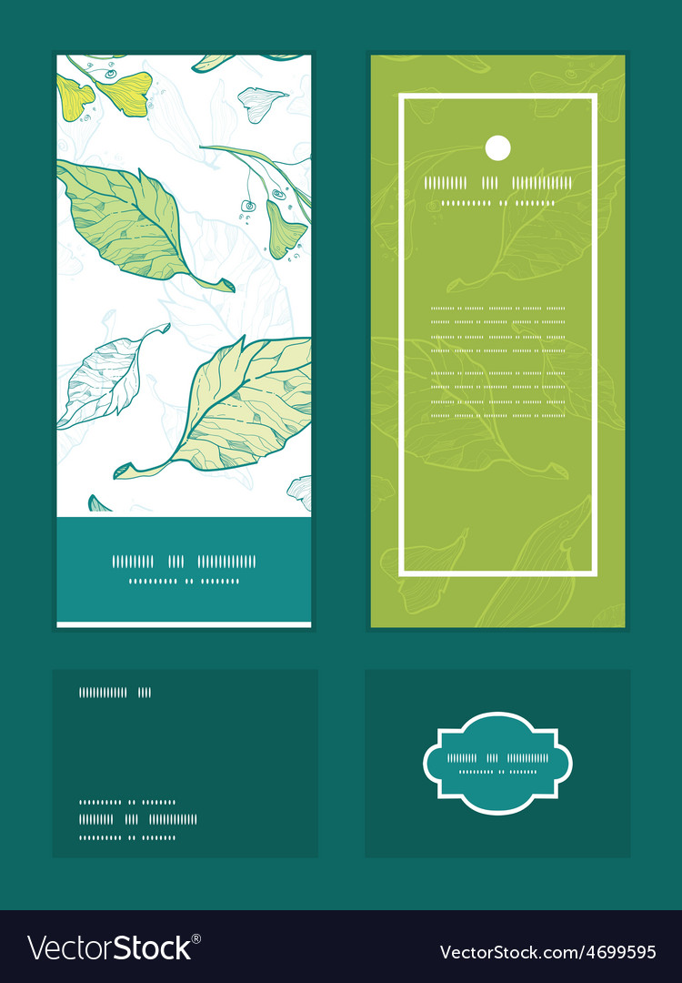 Lineart spring leaves vertical frame vector | Price: 1 Credit (USD $1)