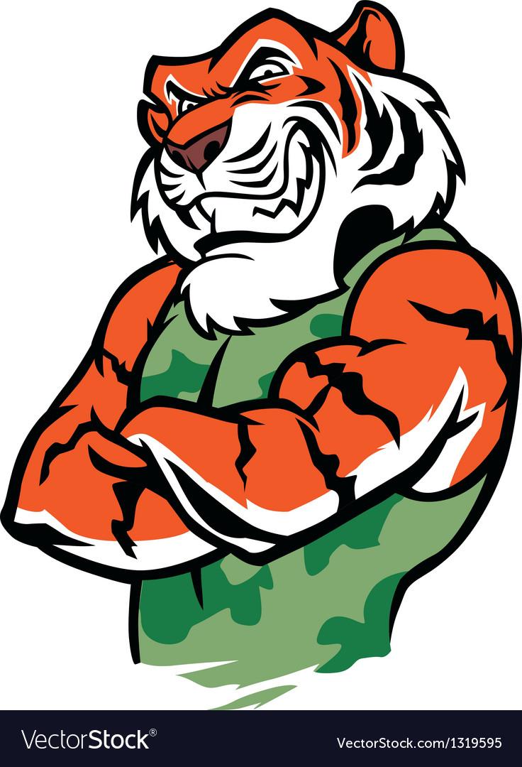 Muscular tiger posing vector | Price: 1 Credit (USD $1)