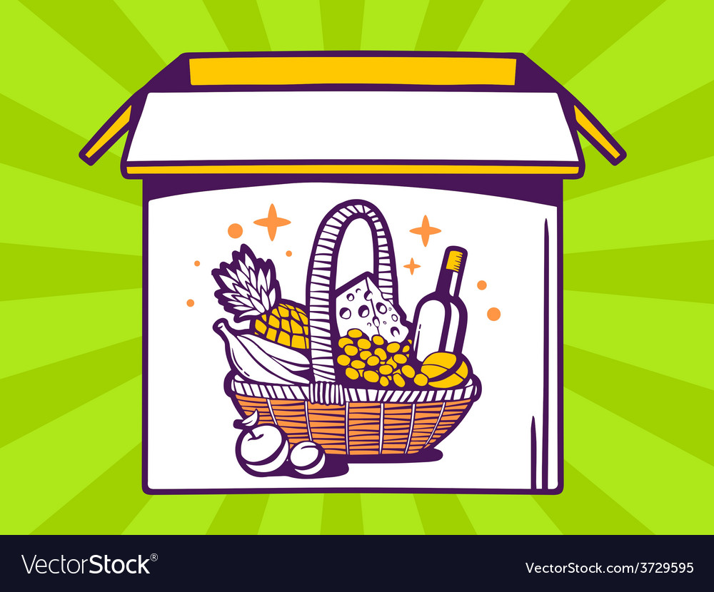Open box with icon of basket with food o vector | Price: 1 Credit (USD $1)