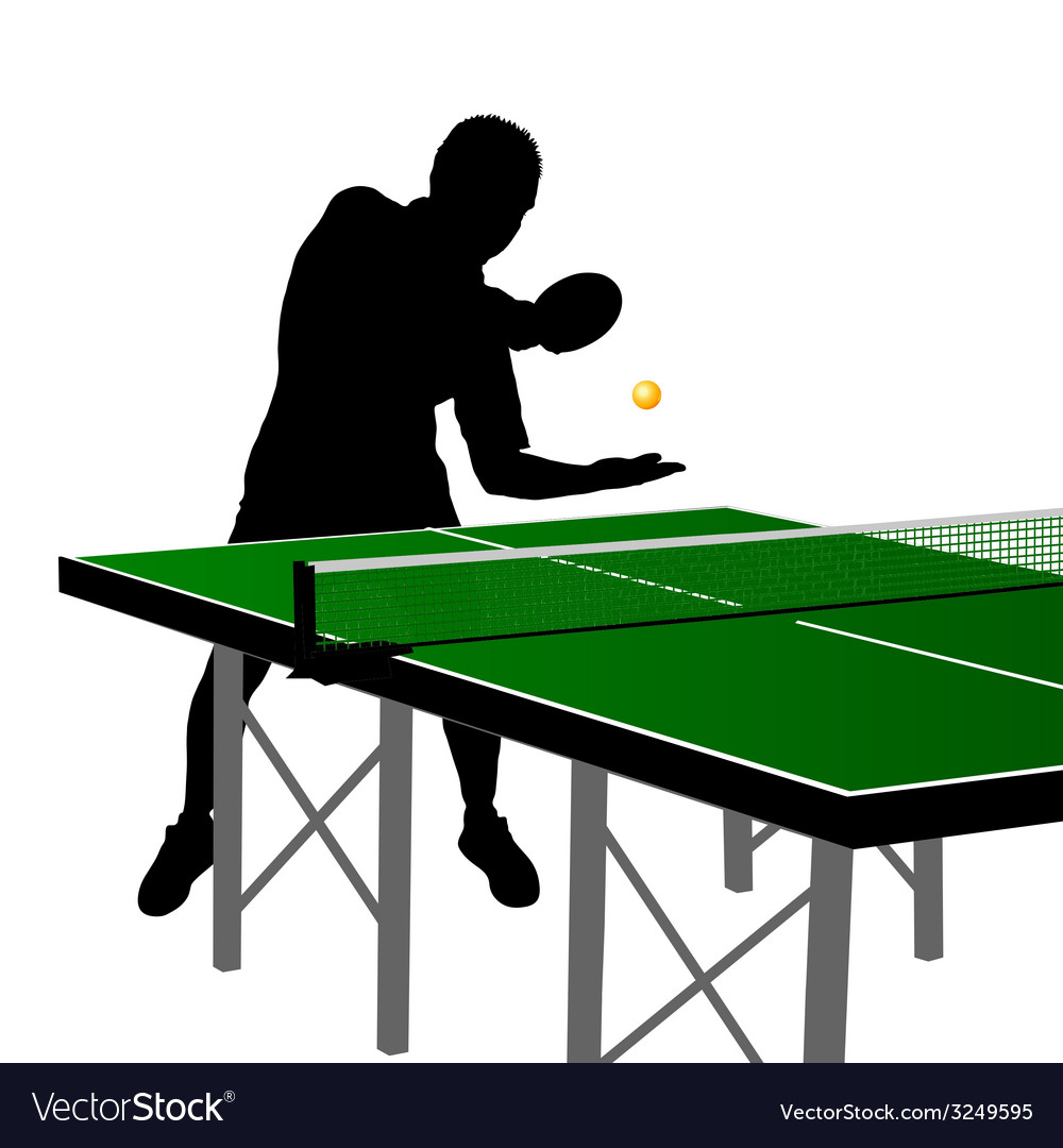 Ping pong player silhouette four vector | Price: 1 Credit (USD $1)