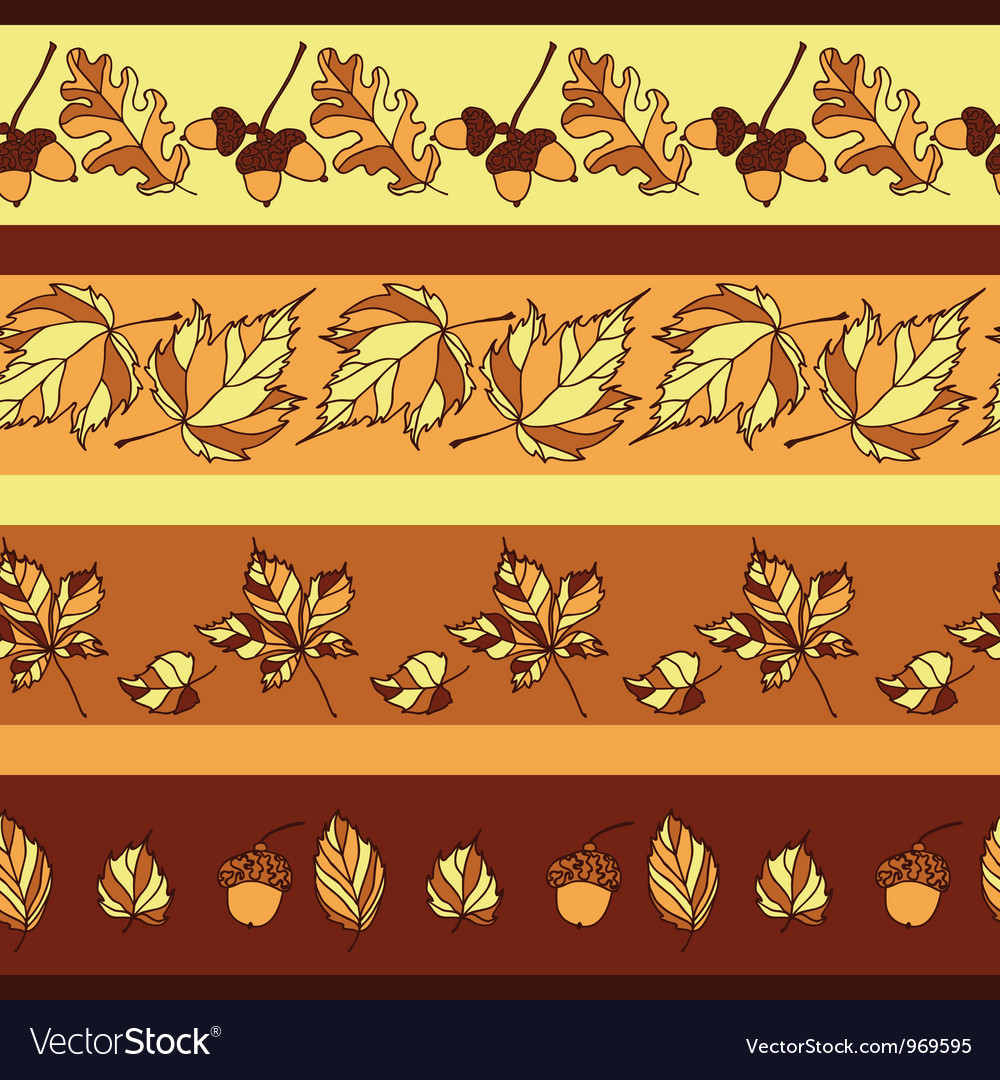 Seamless pattern with autumn leaves and acorns vector | Price: 1 Credit (USD $1)