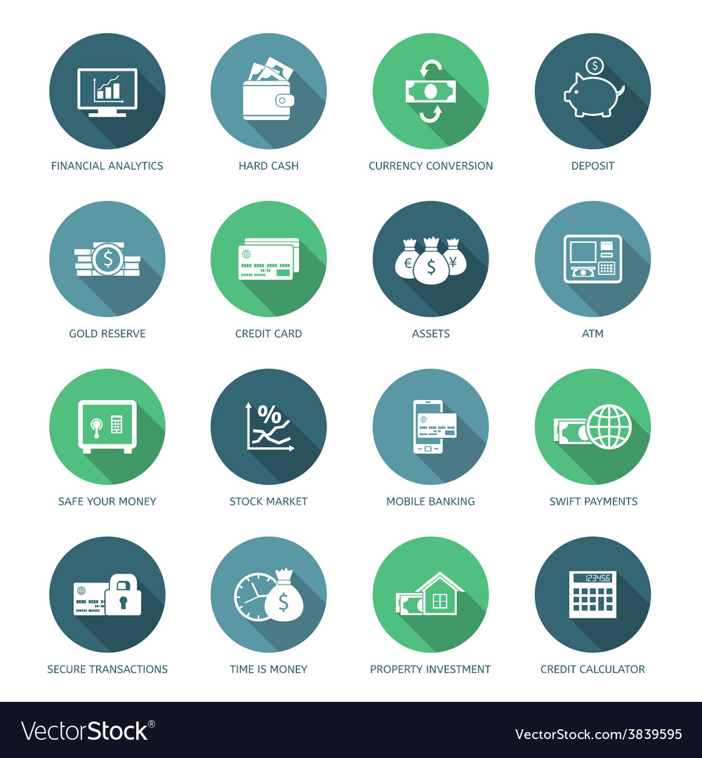 Set of finance and money icons vector   Price: 1 Credit (USD $1)