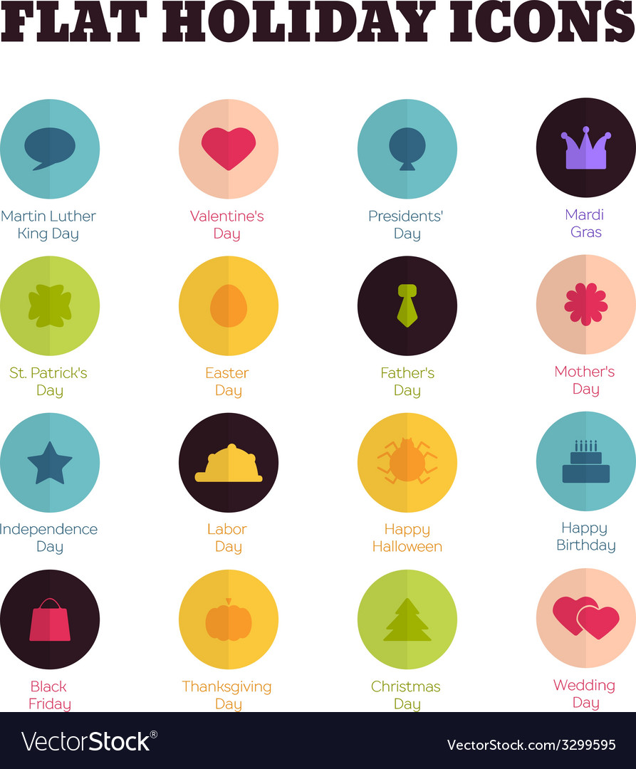 Set of flat icons for main national holidays vector | Price: 1 Credit (USD $1)