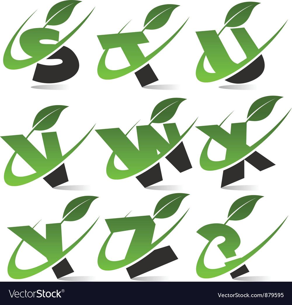 Swoosh green alphabet set3 vector | Price: 1 Credit (USD $1)
