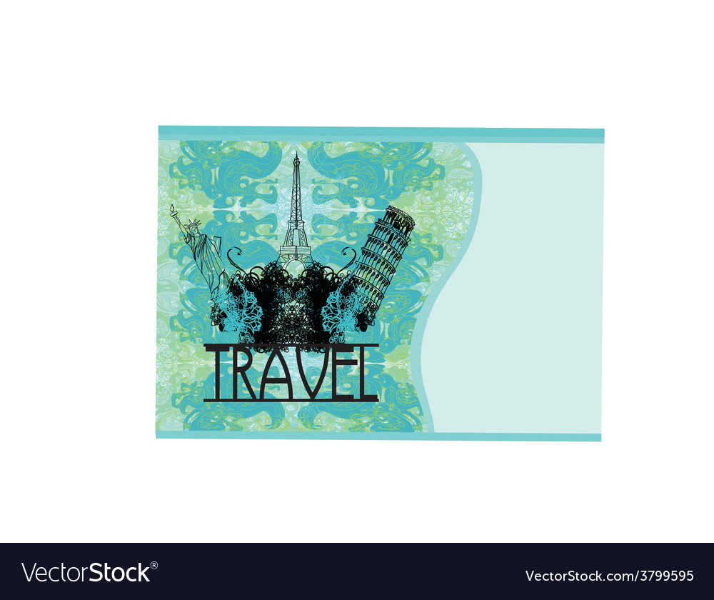 Travel design element with different monuments vector | Price: 1 Credit (USD $1)