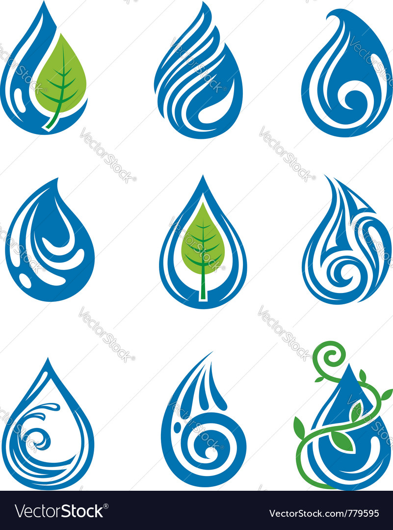 Water drops icons vector | Price: 1 Credit (USD $1)