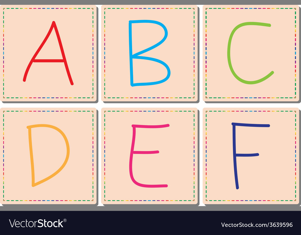 A to f alphabets set 1 vector | Price: 1 Credit (USD $1)