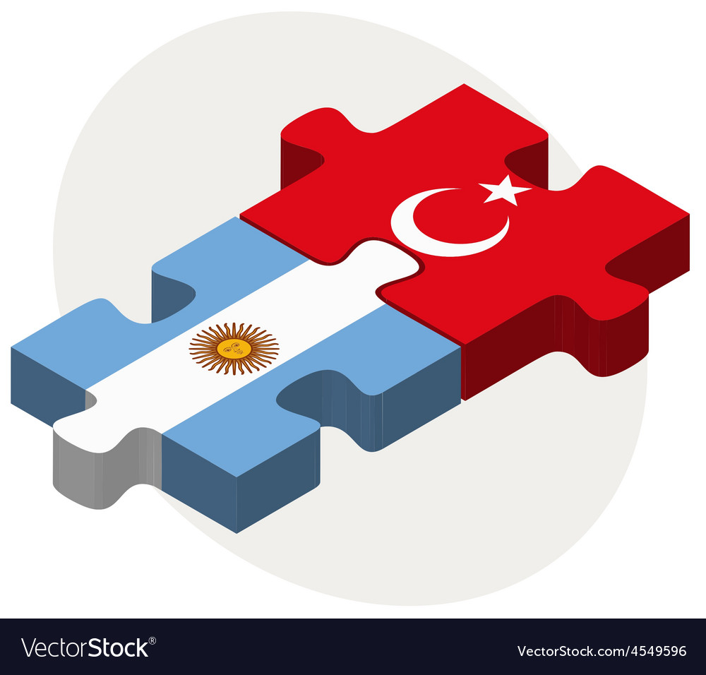 Argentina and turkey flags in puzzle vector | Price: 1 Credit (USD $1)
