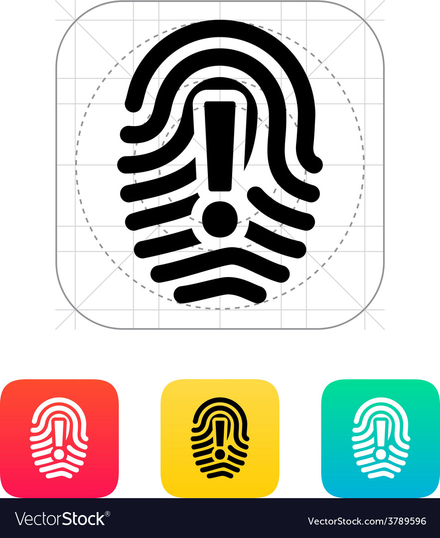 Attention sign on fingerprint icon vector | Price: 1 Credit (USD $1)
