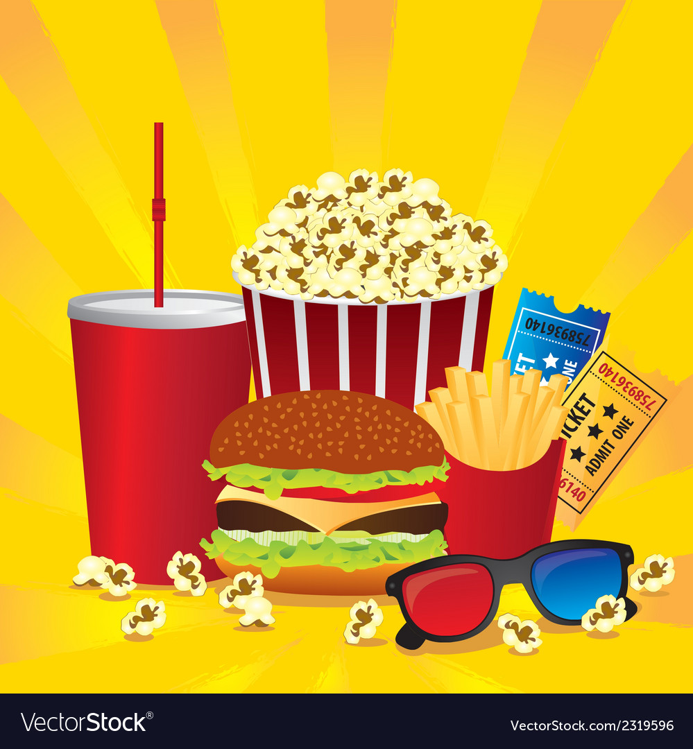 Cine fast food combo with a burger french fries so vector   Price: 1 Credit (USD $1)