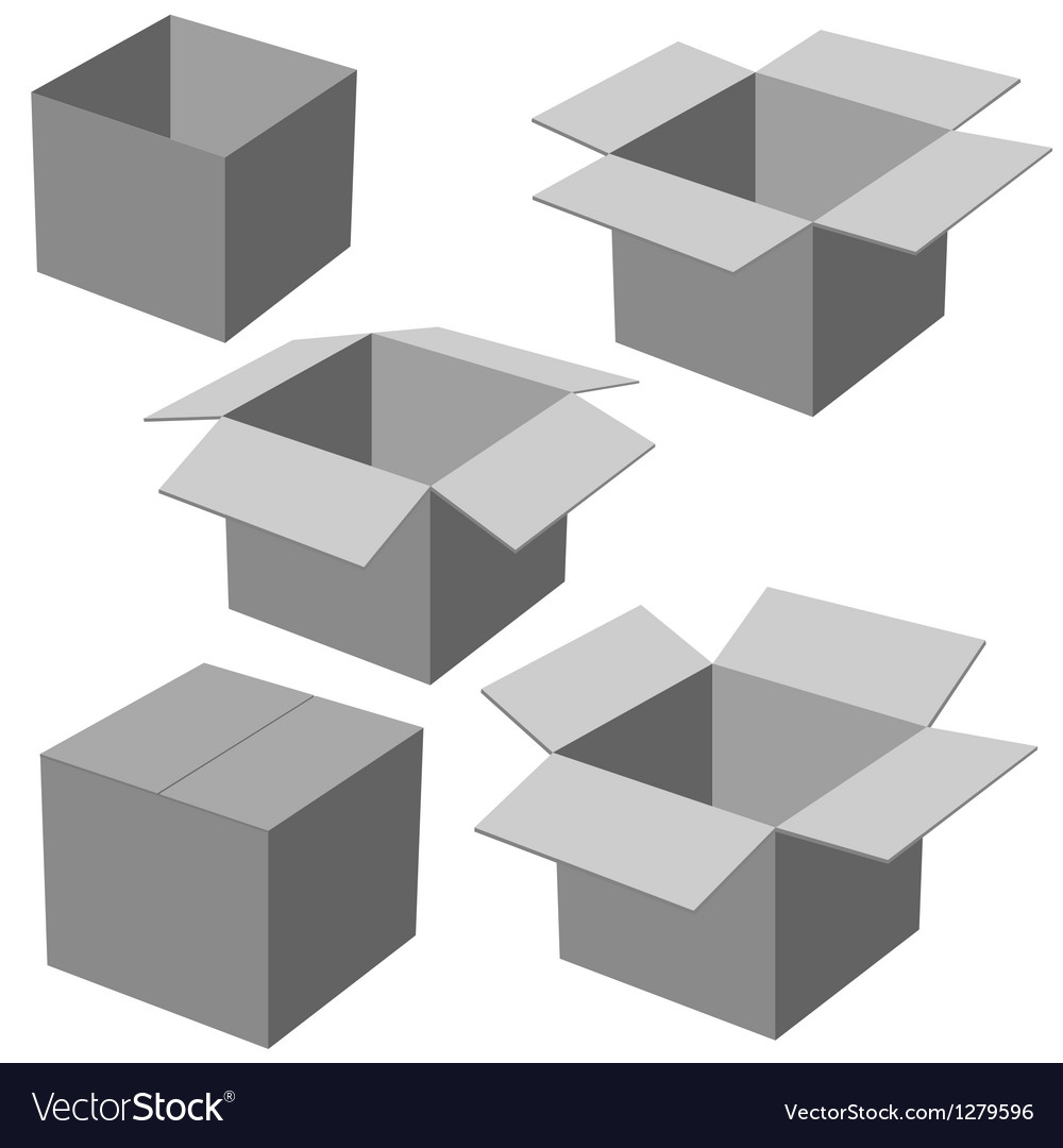 Five boxes isolated on white background vector | Price: 1 Credit (USD $1)