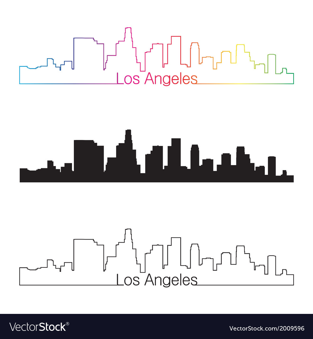 Los angeles skyline linear style with rainbow vector | Price: 1 Credit (USD $1)