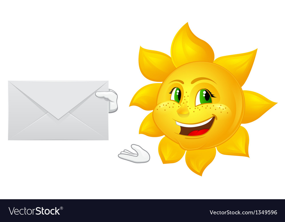 Postman cartoon sun with mail vector | Price: 1 Credit (USD $1)