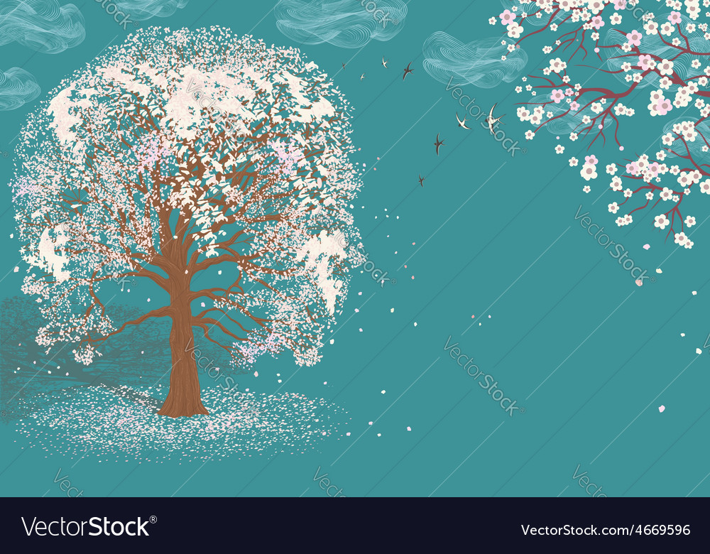 Tree in bloom vector | Price: 1 Credit (USD $1)