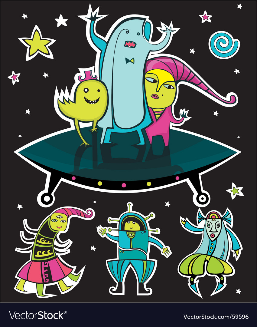 Ufo aliens vector | Price: 5 Credit (USD $5)