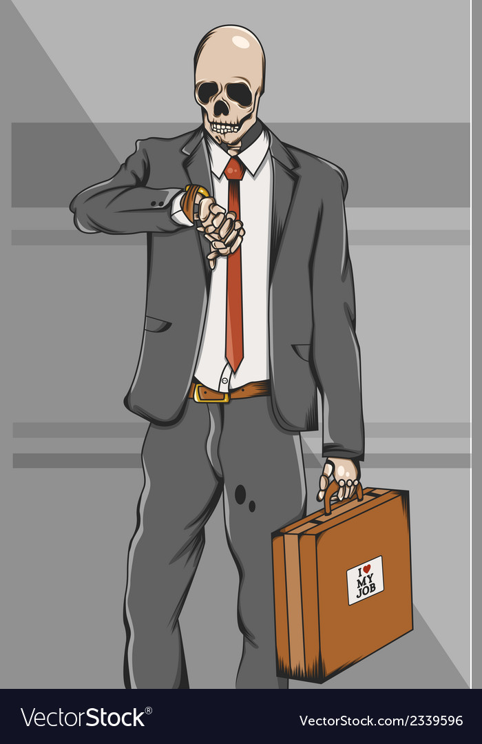 Working class skull employee on suit go to work vector | Price: 1 Credit (USD $1)