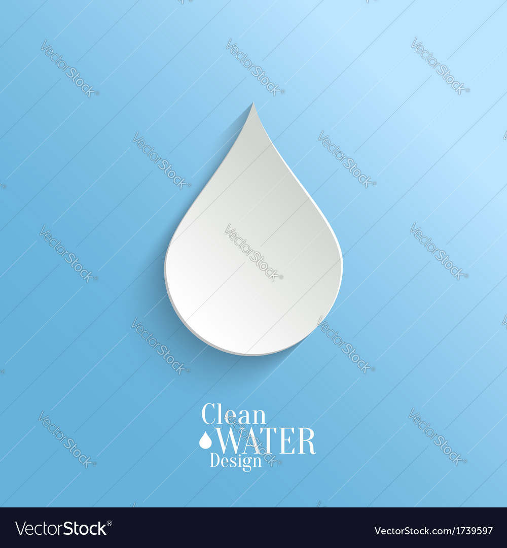Abstract paper water drop on blue background vector | Price: 1 Credit (USD $1)