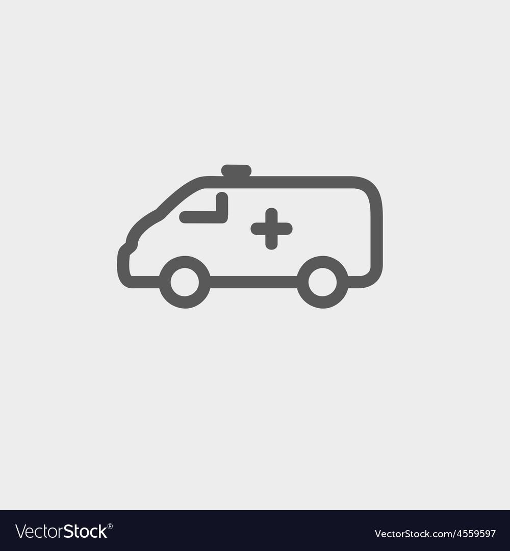 Ambulance car thin line icon vector   Price: 1 Credit (USD $1)