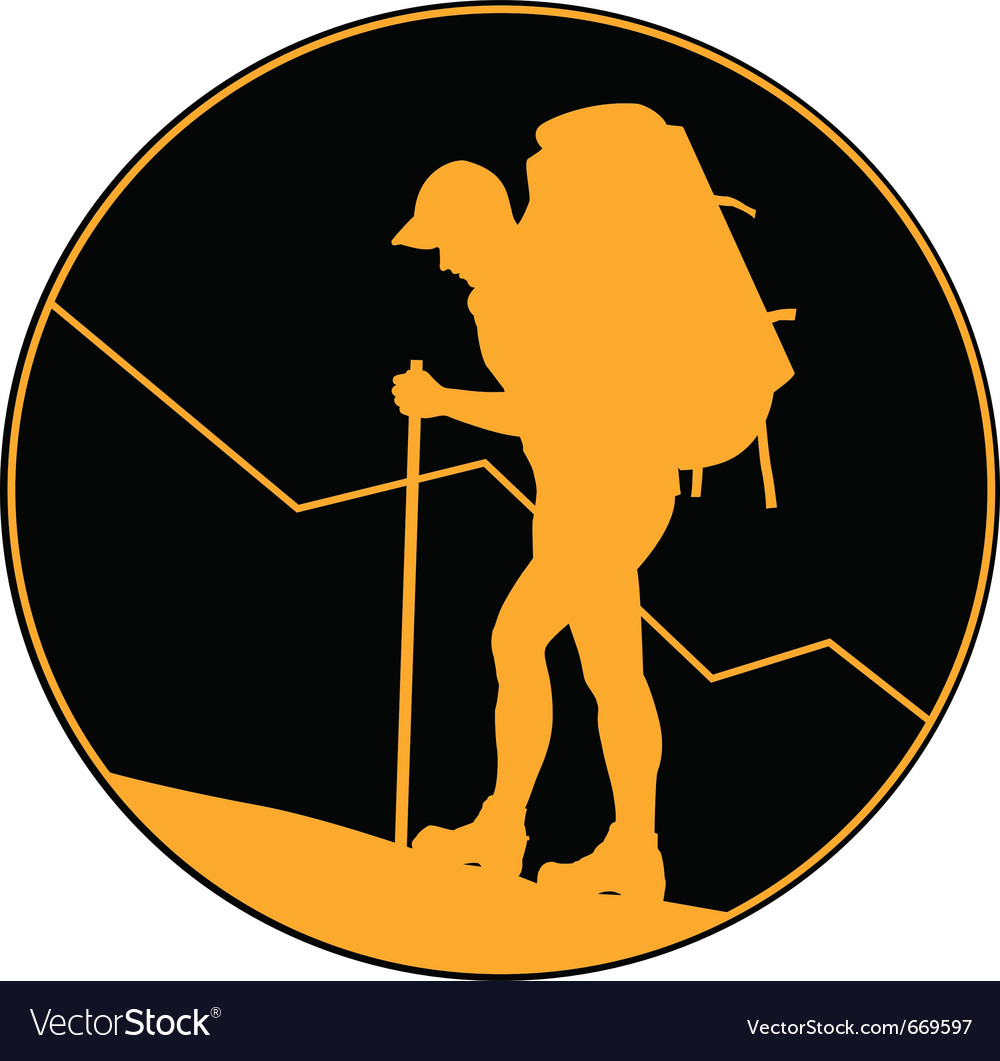 Backpacker hiker vector | Price: 1 Credit (USD $1)