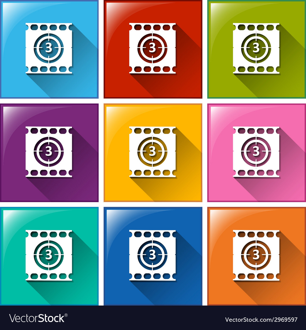 Buttons with movie countdown vector | Price: 1 Credit (USD $1)