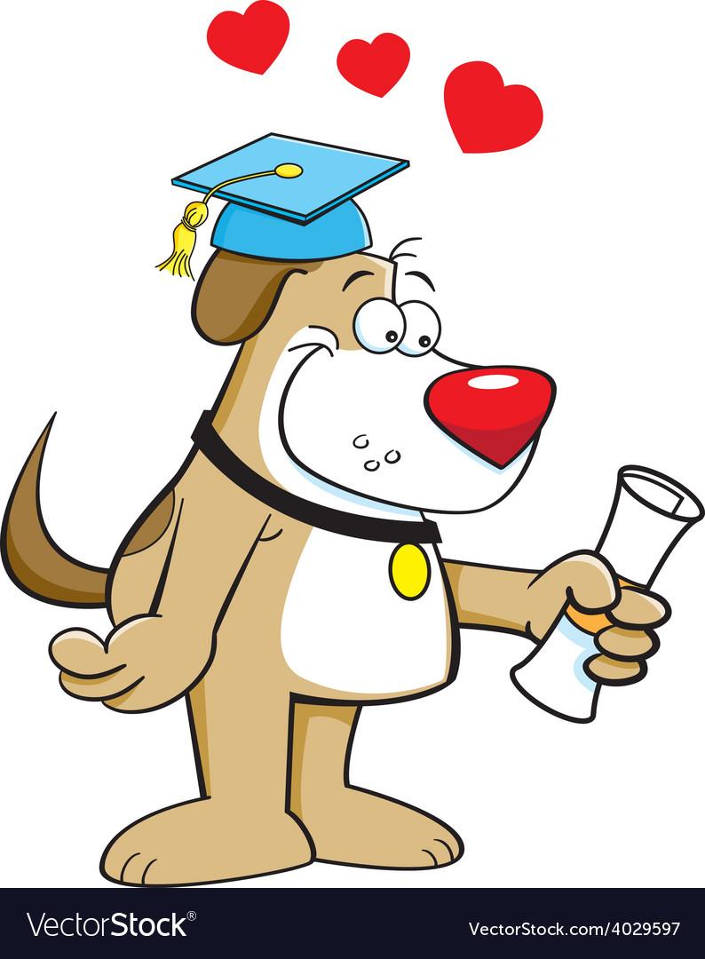 Cartoon dog holding a diploma vector | Price: 1 Credit (USD $1)