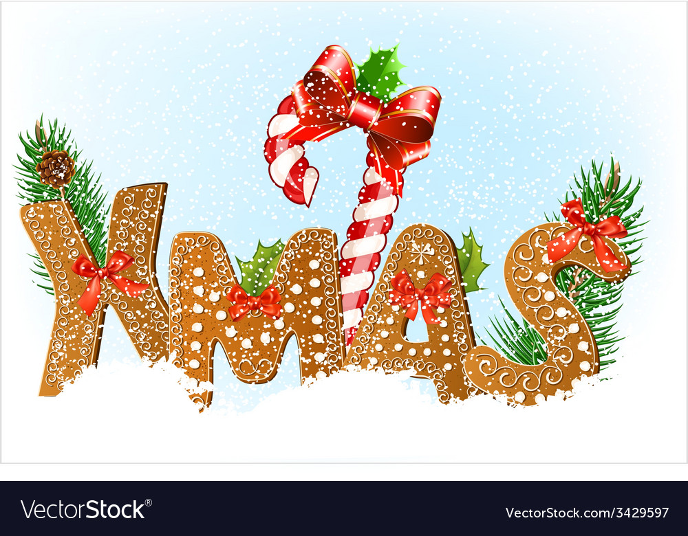 Christmas snow background with gingerbread cookies vector | Price: 1 Credit (USD $1)