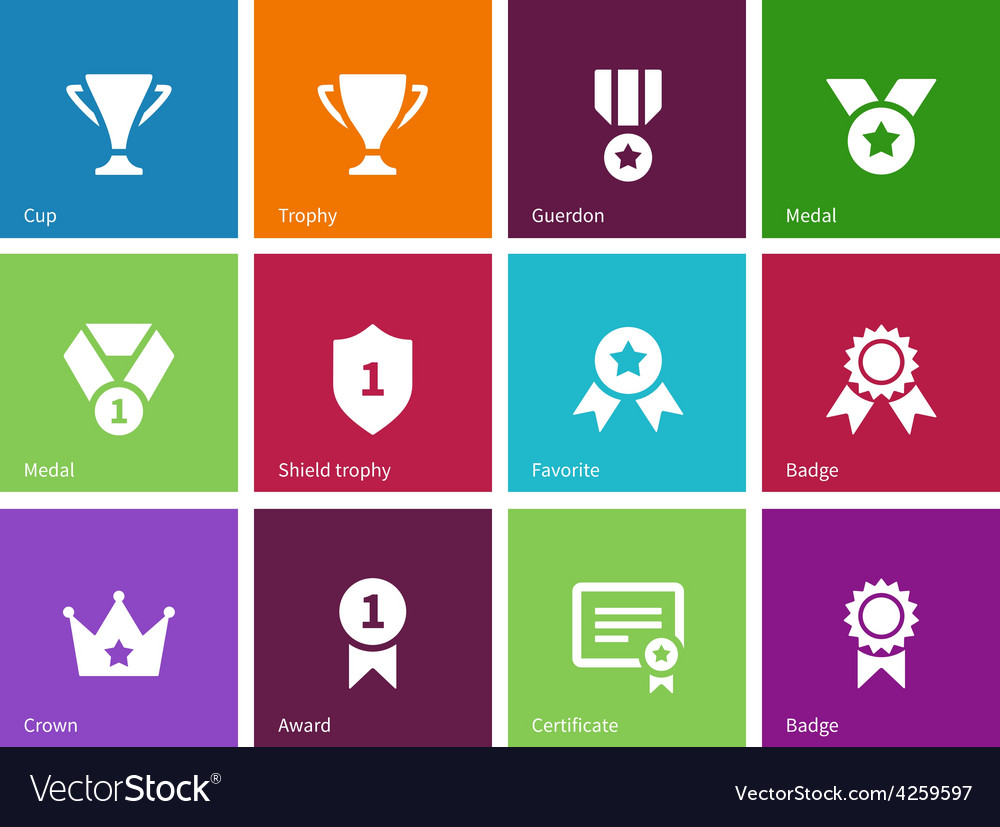Cup and awards icons on color background vector | Price: 1 Credit (USD $1)