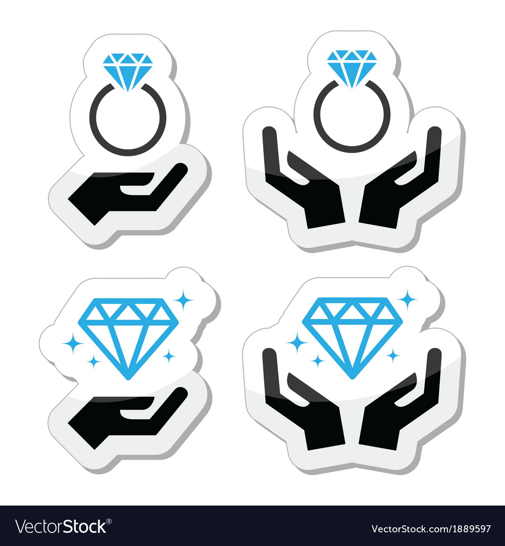 Diamond engagement ring with hands icon vector | Price: 1 Credit (USD $1)