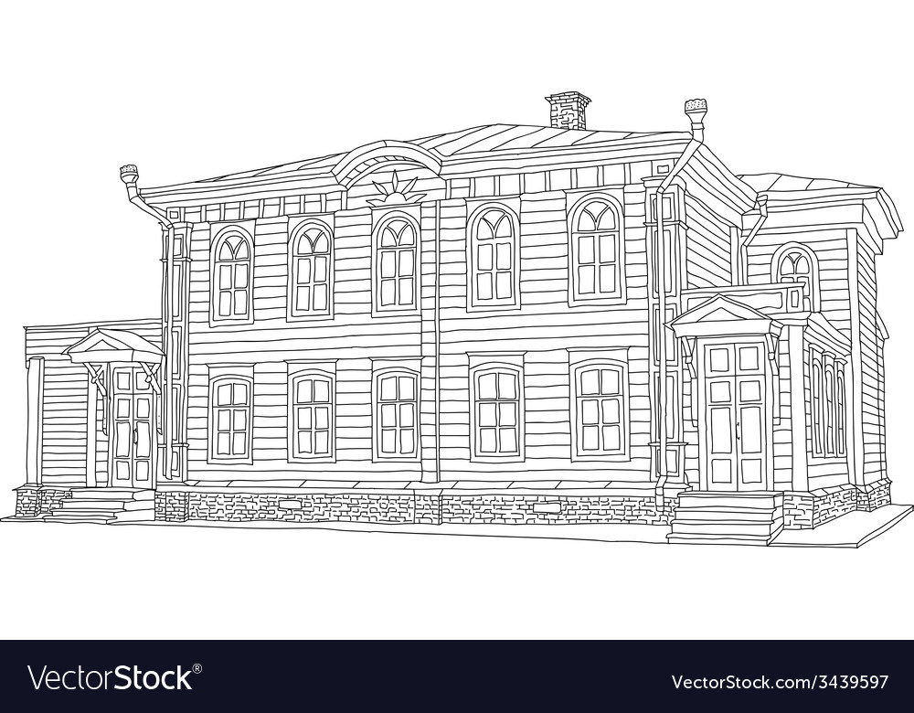 Drawing sketch of a house vector | Price: 1 Credit (USD $1)