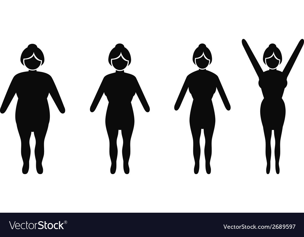 Female weight loss silhouettes vector | Price: 1 Credit (USD $1)