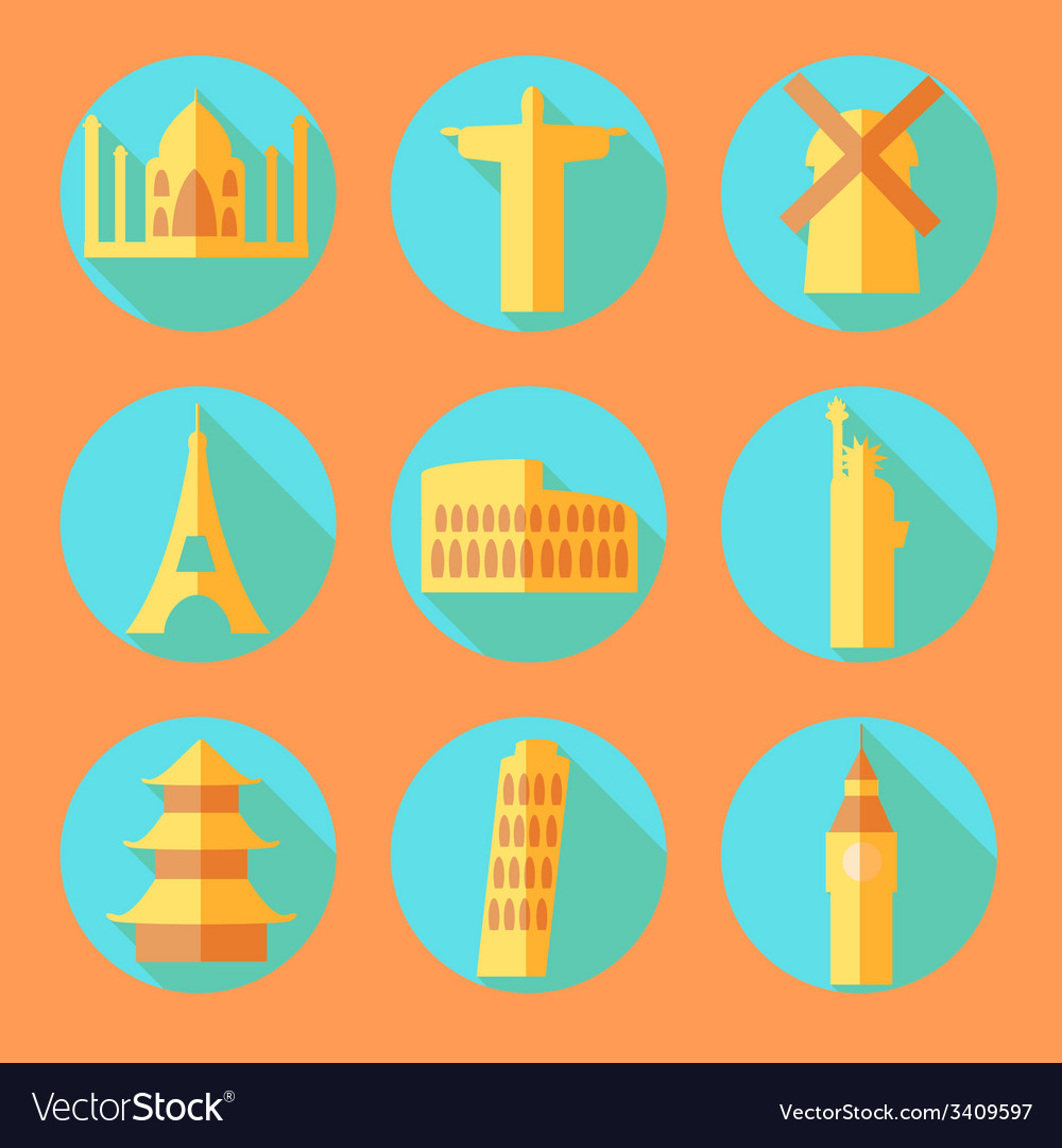Flat architecture buildings icons vector | Price: 1 Credit (USD $1)