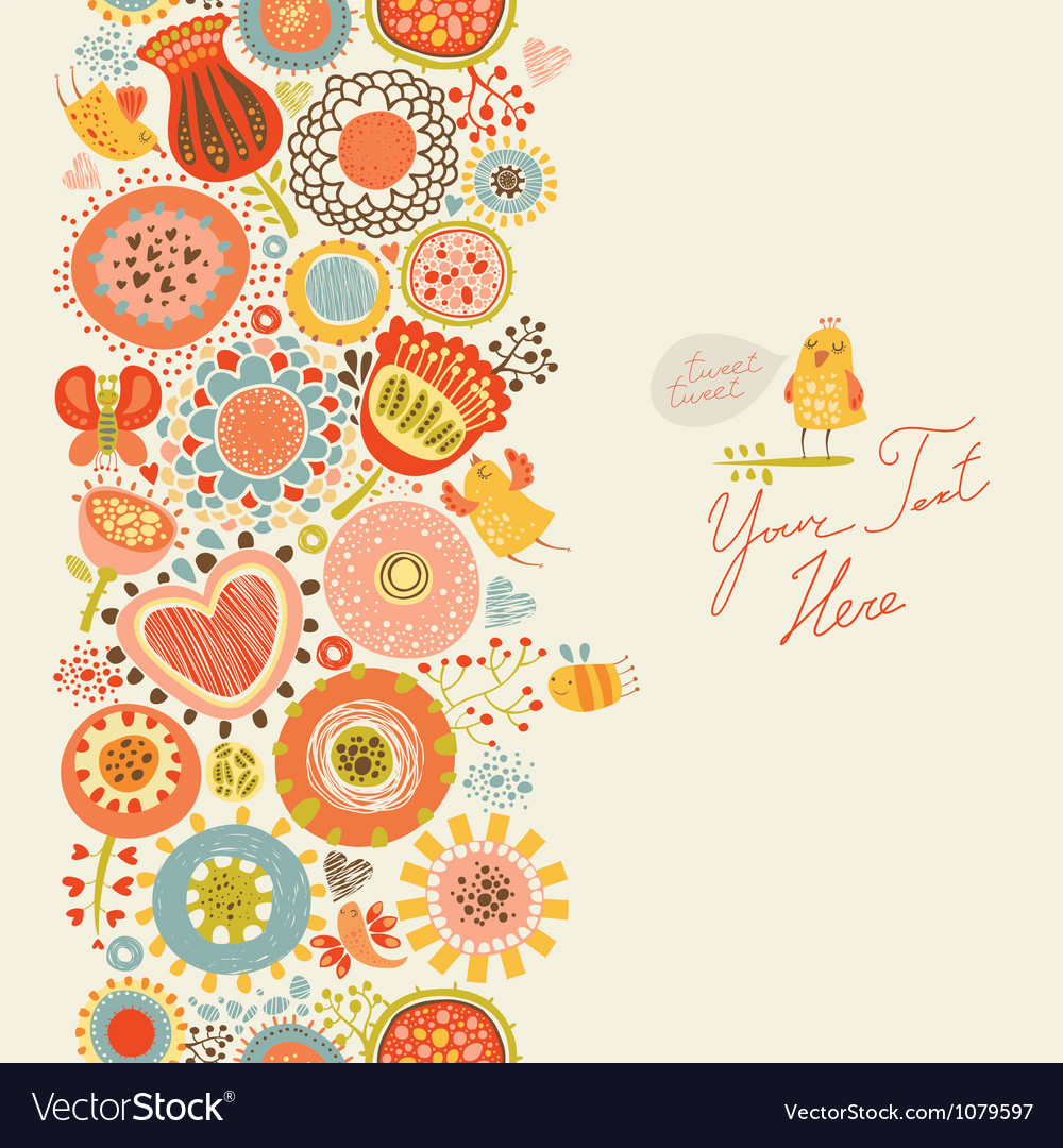 Floral pattern with funny birds and insects vector | Price: 1 Credit (USD $1)