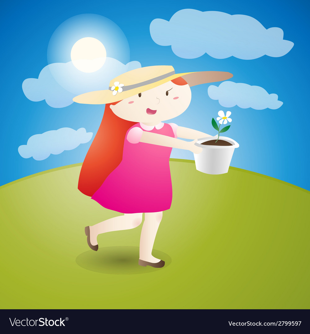 Girl is holding a flowerpot vector | Price: 1 Credit (USD $1)