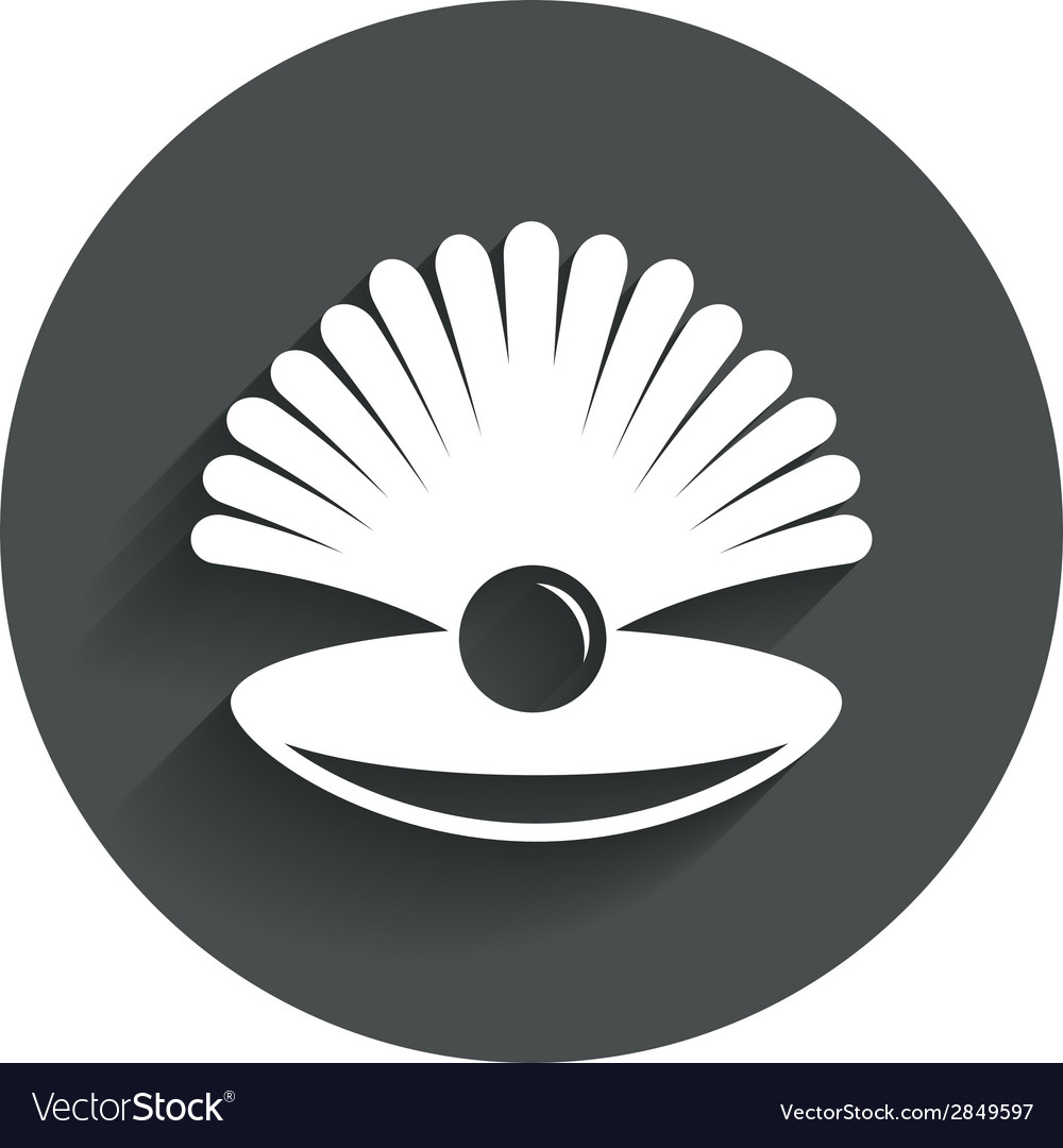 Sea shell with pearl sign icon conch symbol vector | Price: 1 Credit (USD $1)