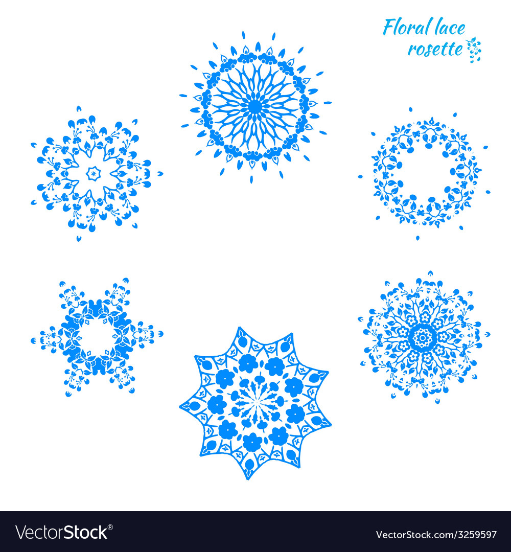 Set of laced snowflakes vector | Price: 1 Credit (USD $1)