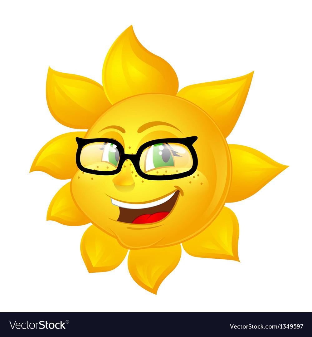 Smart cartoon sun in glasses vector | Price: 1 Credit (USD $1)