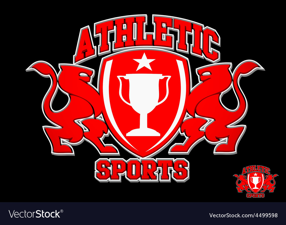 3d athletic sports red emblem on black background vector | Price: 1 Credit (USD $1)