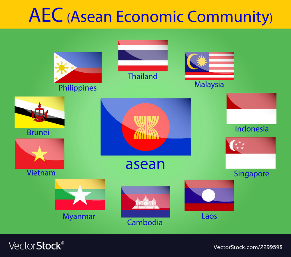 Asean flags vector | Price: 1 Credit (USD $1)