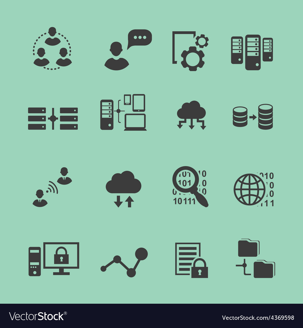 Big data analysis black icons set data vector | Price: 1 Credit (USD $1)