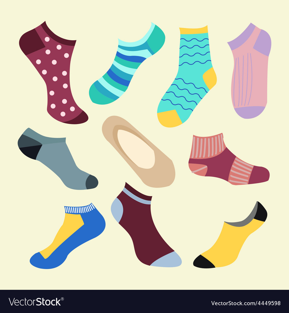 Fashion set icon of colored socks vector | Price: 1 Credit (USD $1)