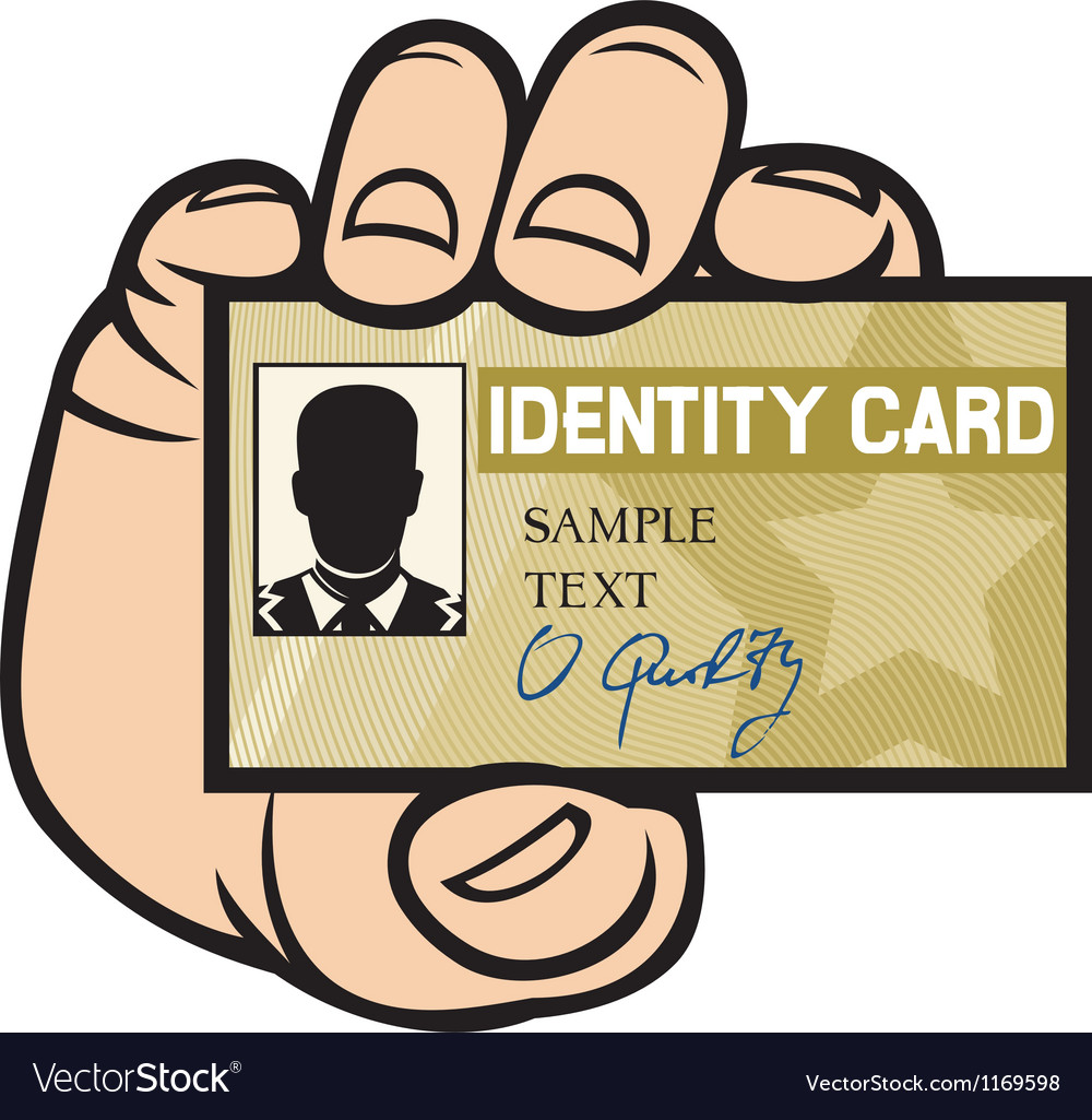 Hand holding id card vector | Price: 1 Credit (USD $1)