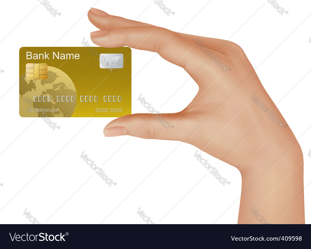 Hand with gold credit card vector | Price: 1 Credit (USD $1)