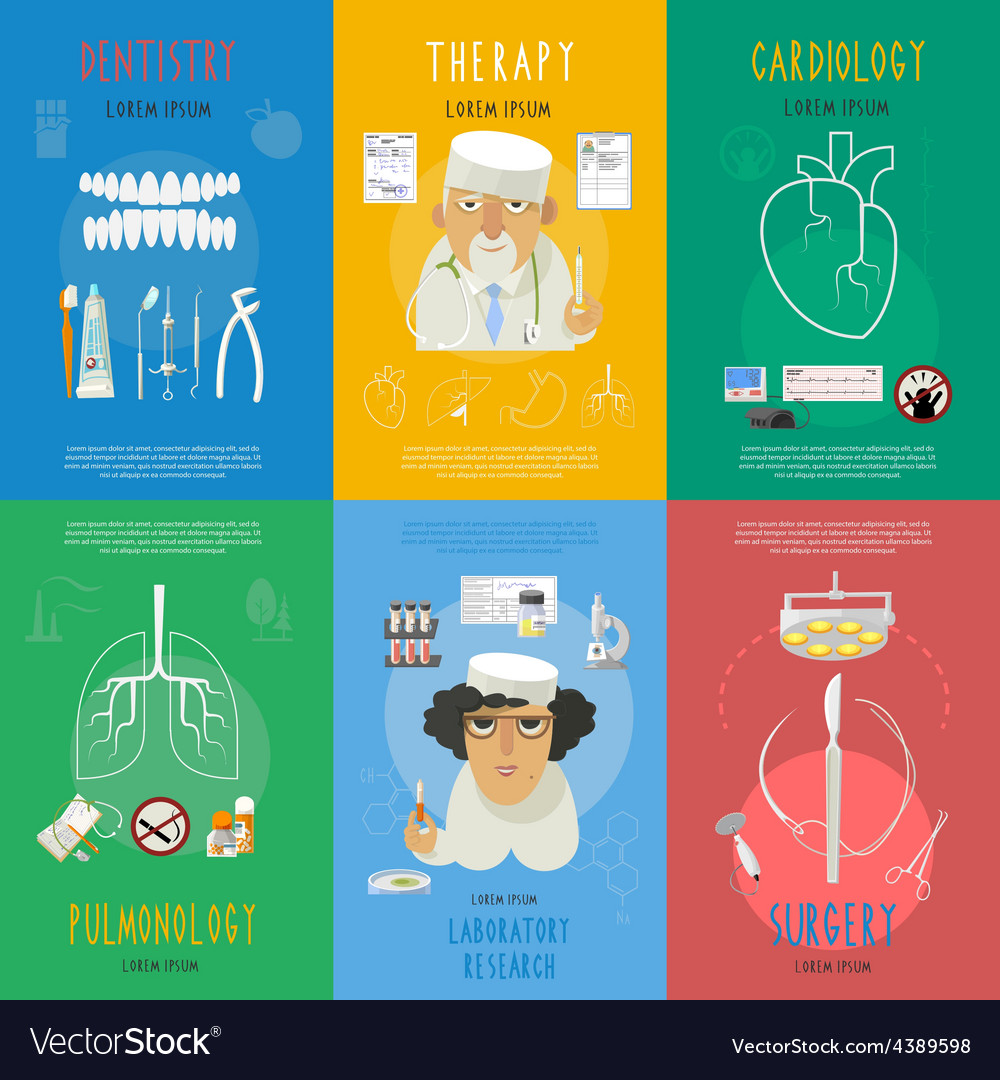 Medicine flat icons composition poster vector | Price: 1 Credit (USD $1)