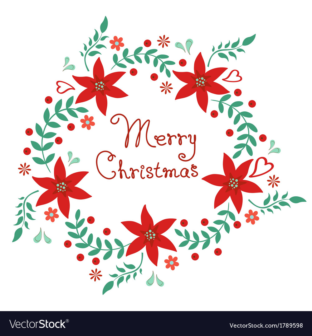 Merry christmas floral wreath vector